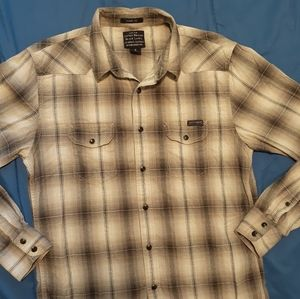 Lucky Brand Black Label plaid shirt w snap buttons